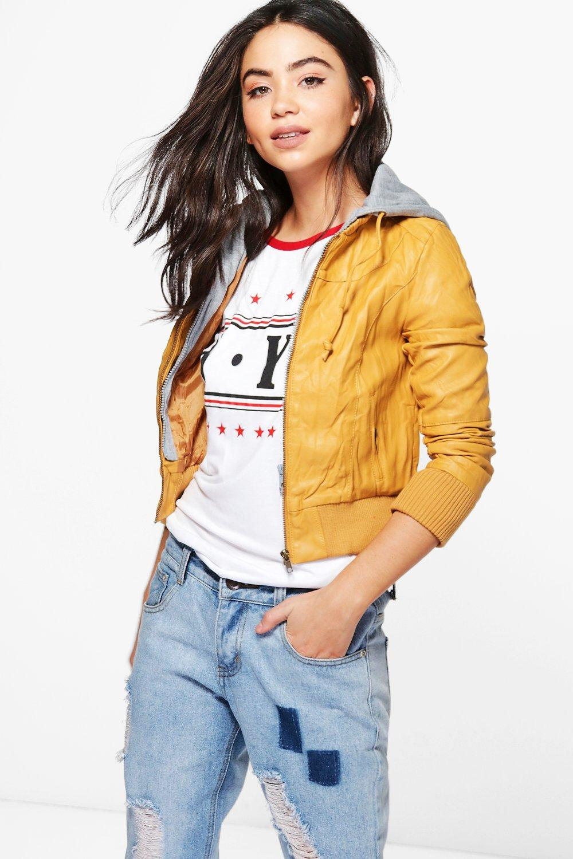Faux Leather Hooded Biker Jacket  yellow