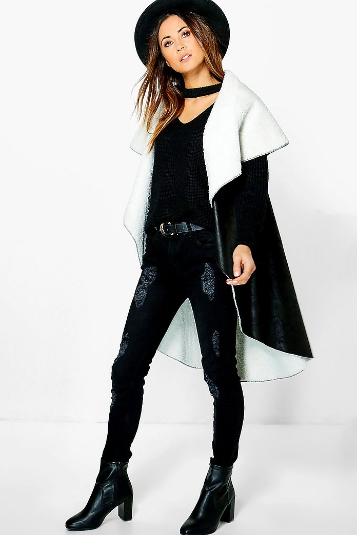 Maisie Waterfall Suedette & Borg Jacket