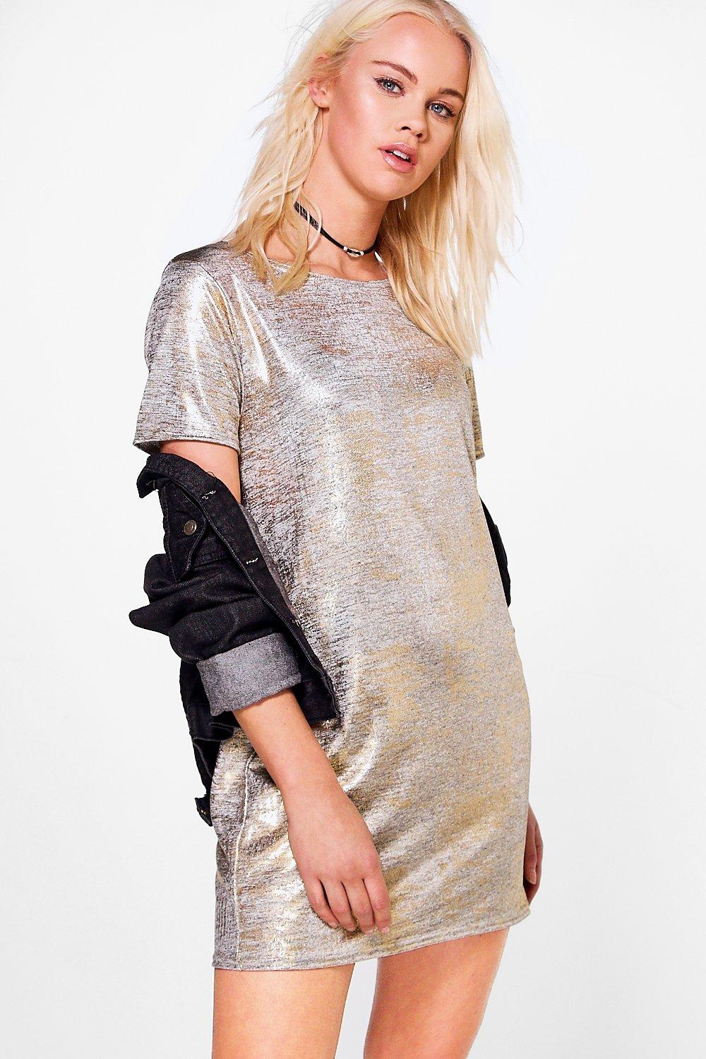 Xenia Metallic Cap Sleeve Shift Dress