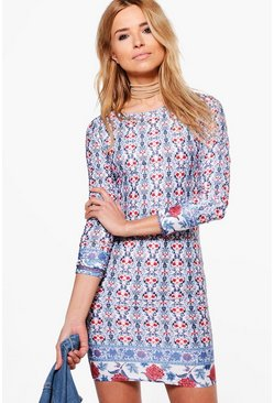 Ri Border Print Off Shoulder Bodycon Dress