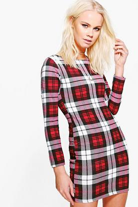 Ailbhe Checked Long Sleeve Bodycon Dress