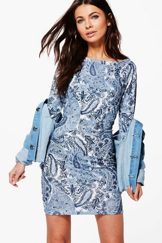 Akhila Paisley Print Bodycon Dress