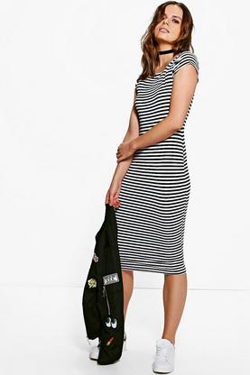 Albany Stripe Cap Sleeve Midi Dress