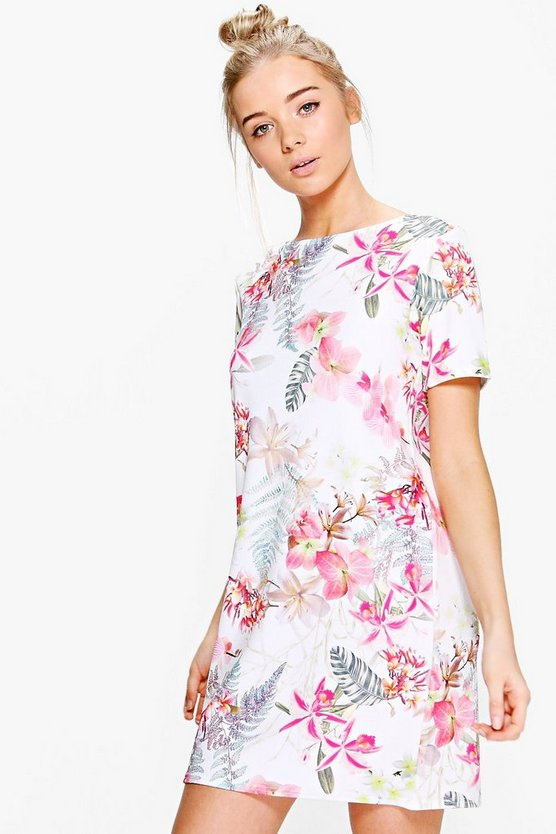 Alicia Floral Cap Sleeve Shift Dress