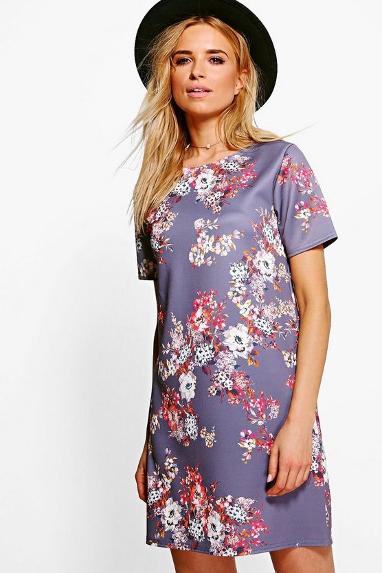 Alivia Floral Sciba Cap Sleeve Shift Dress