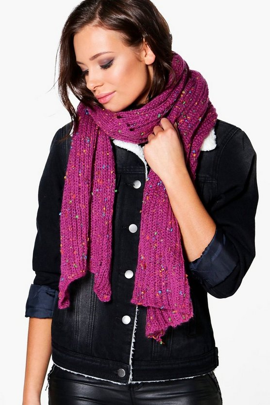 Ruby Nep Yarn Chunky Knitted Scarf