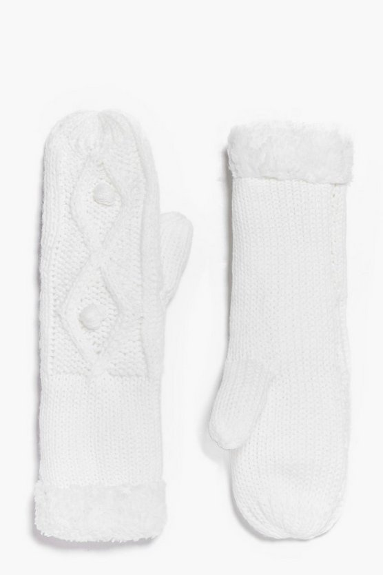 Grace Faux Fur Trim Cable Mittens