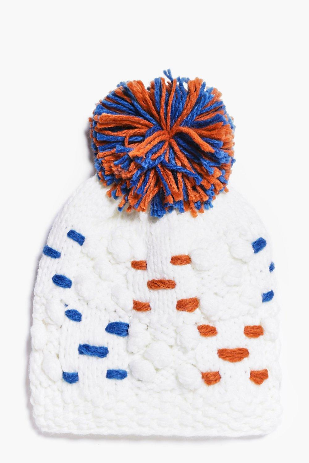 Contrast Chunky Knitted Bobble Hat  white