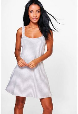 Emiko Stripe Sleeveless Skater Dress