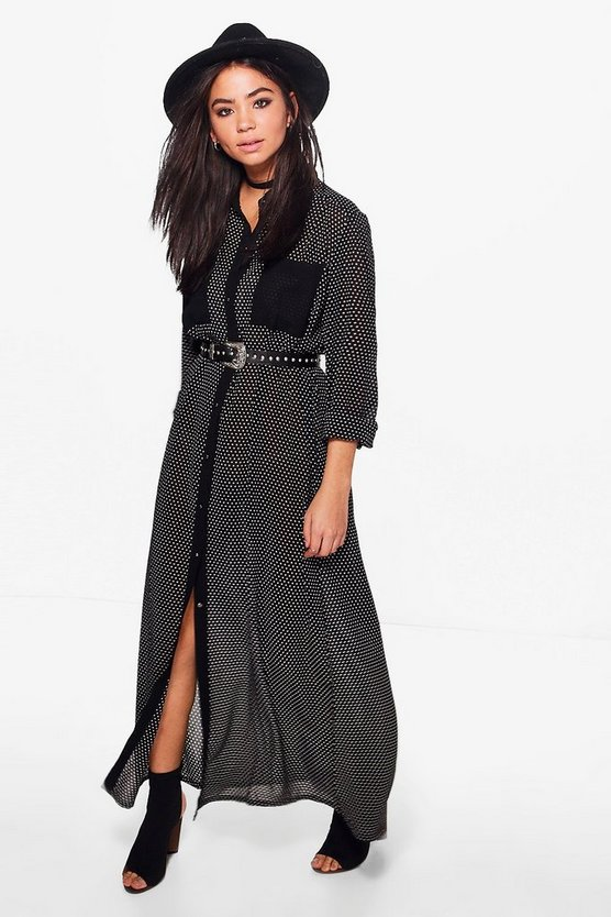 Grace Maxi Length Spot Shirt Dress