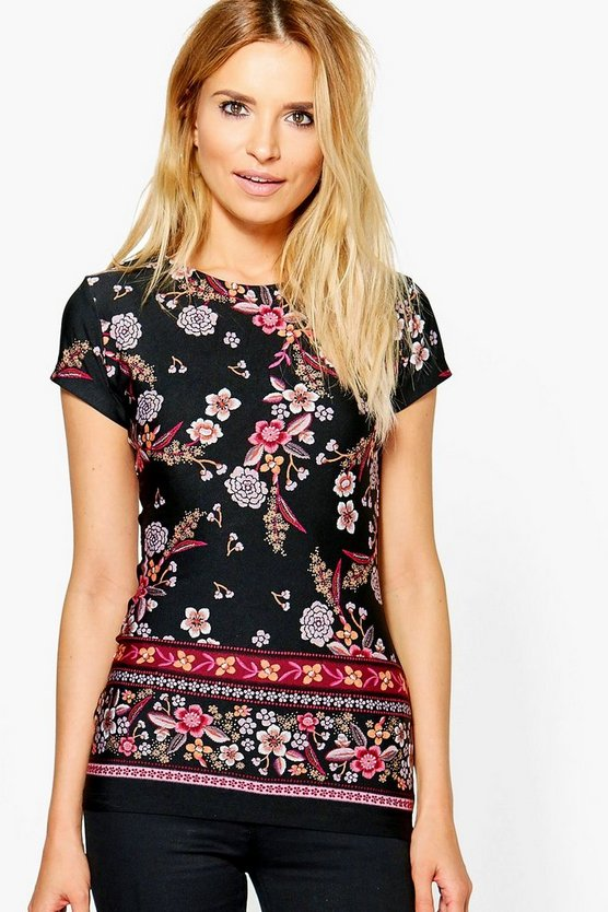 Molly Floral Border Print Top