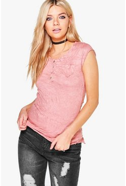 Christina Crinkle Button T-Shirt