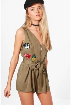 Louise Zip Playsuit With Badges
