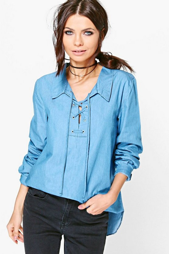 Sophie Tie Front Chambray Blouse