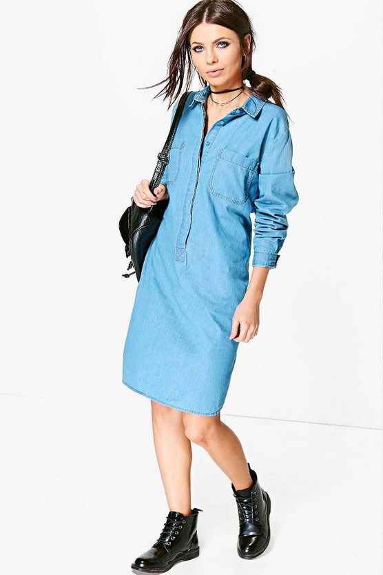Linda Oversized Denim Shirt Dress