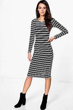 Tia Long Sleeve Stripe Midi Dress