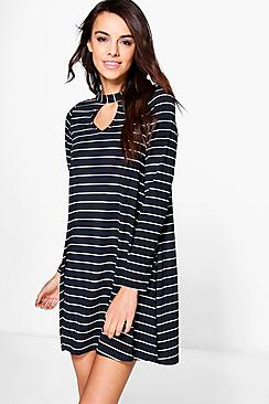 Rella Long Sleeve Stripe Swing Dress