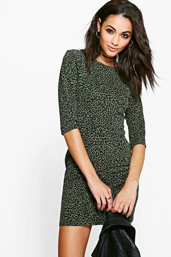 Aly Animal Texture 3/4 Sleeved Bodycon Dress