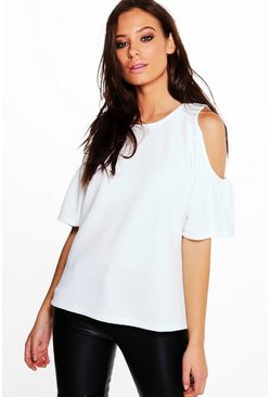 Verity Textured Cold Shoulder Top