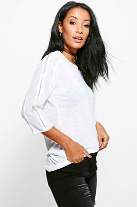 Lilly Zip Sleeve Mesh Top