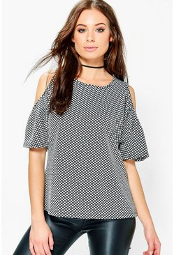 Florence Textured Fabric Cold Shoulder Top