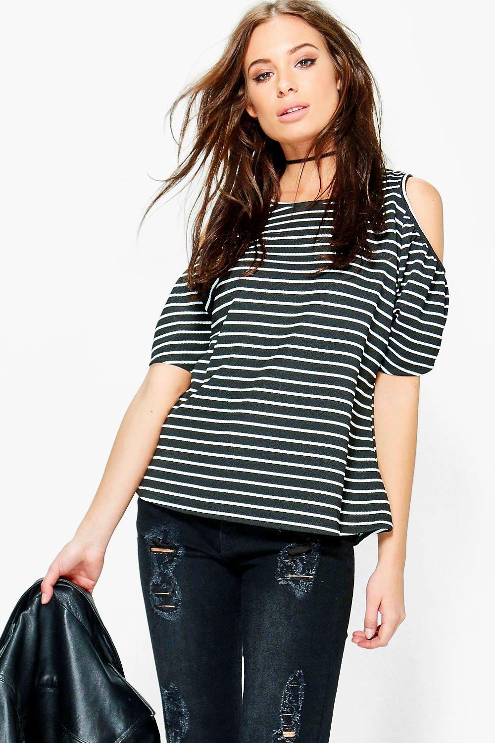 Christina Stripe Textured Cold Shoulder Top