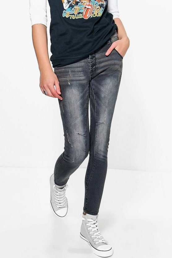 Alex Black Rip Detail Skinny Jeans