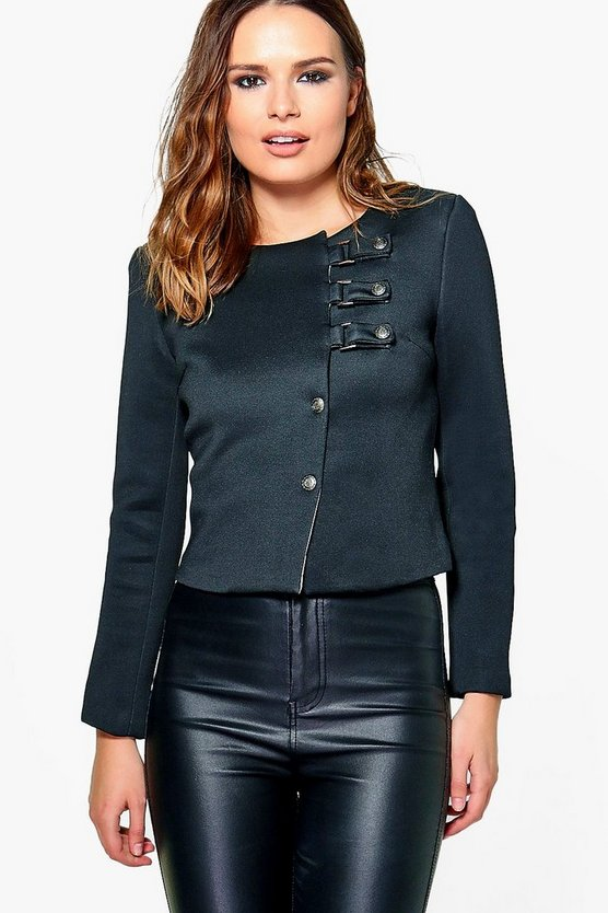 Lucy Buckle Military Fasten Crop Jacket