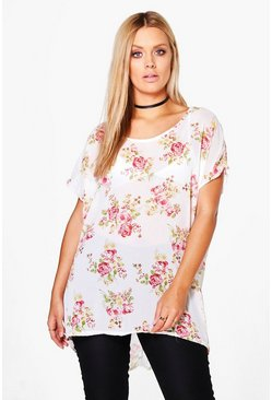 Plus Harriet Floral Chiffon Tunic