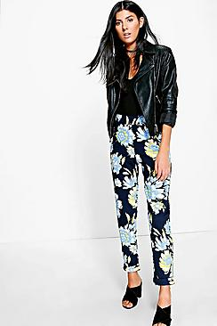 Reylan Large Floral Crepe Stretch Skinny Trousers