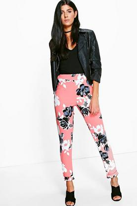 Adira Large Floral Crepe Stretch Skinny Trousers
