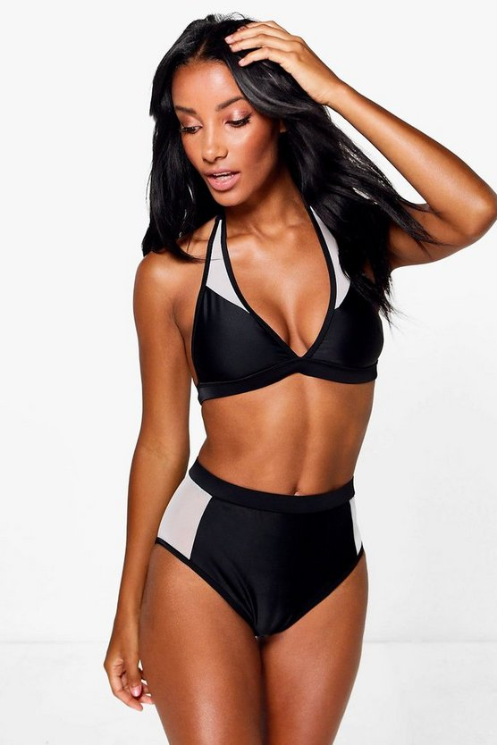 Macey Mesh Panel High Waist Bikini
