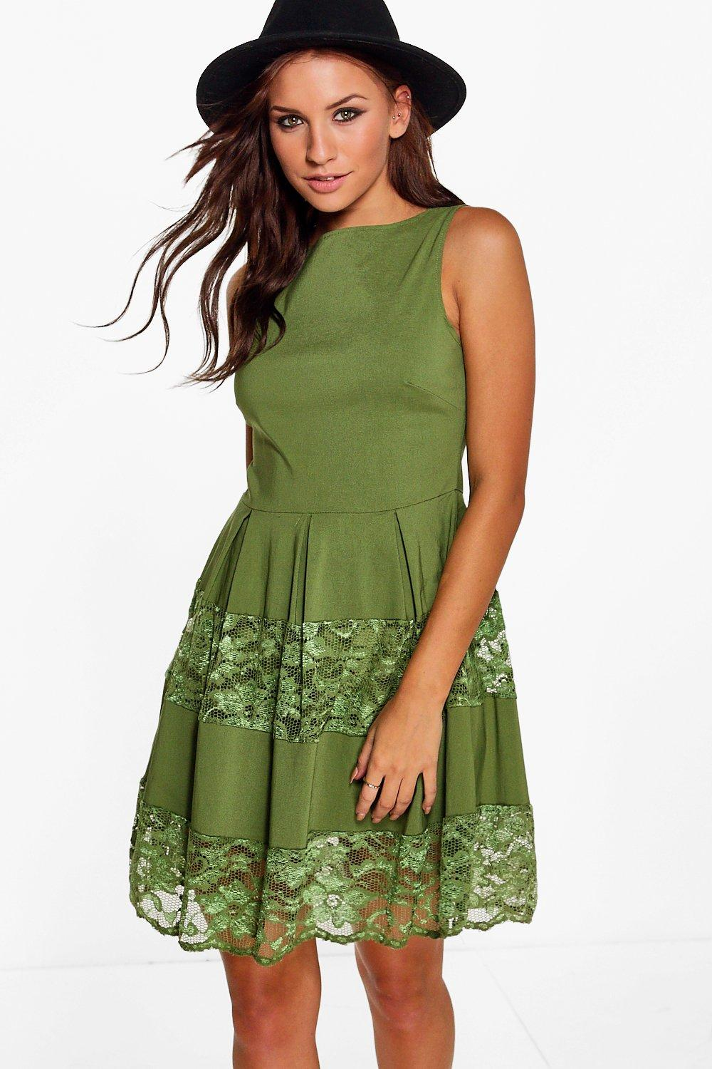 Emma Lace Insert Skater Dress