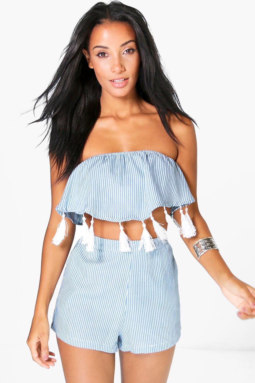 Isabel Chambray Stripe Tassle Trim Woven Co-ord