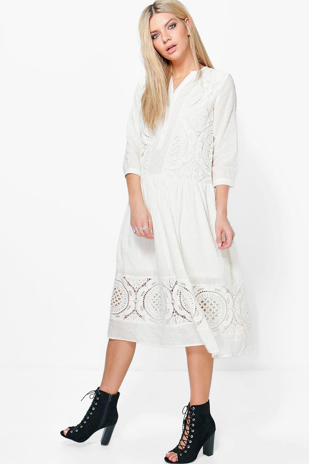 Ashley White Lace Button Up Smock Dress