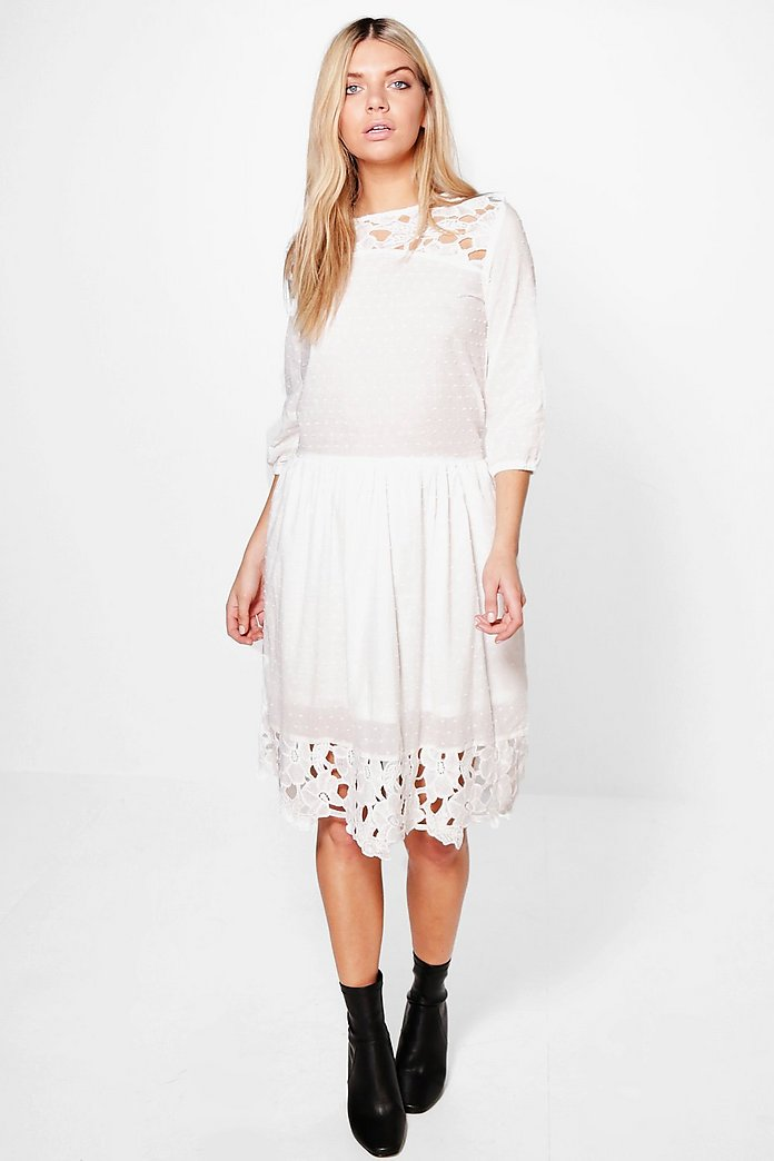 Lucy White Lace Smock Dress