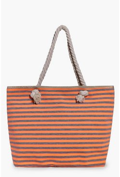 Nina Orange Stripe Beach Bag