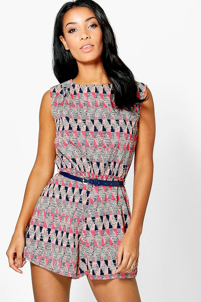 Joanna Geometric Print Belted Playsuit