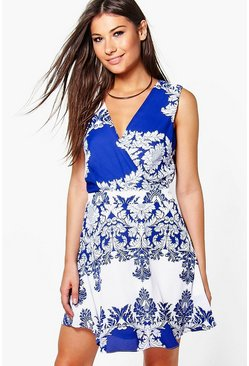 Maddison Cross Over Printed Dress