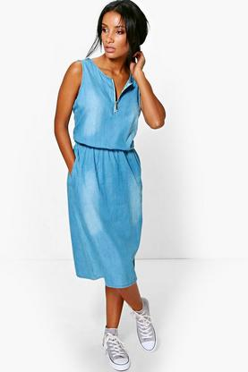 Julia Midi Denim Dress With Zip Front