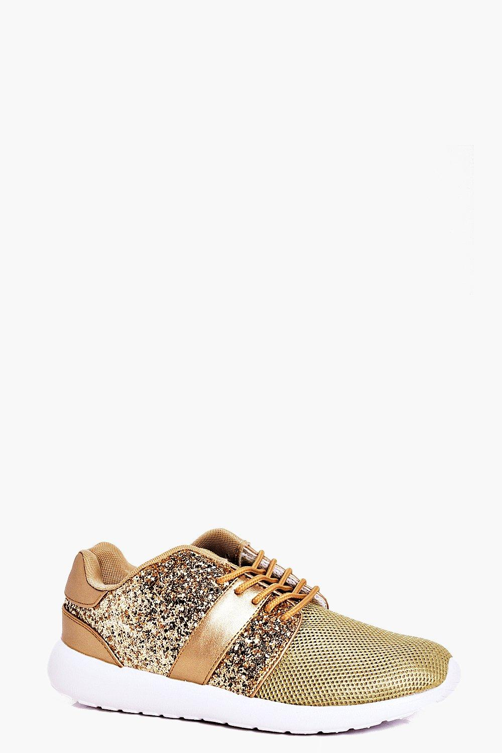 Abigail Glitter Lace Up Metallic Trainer