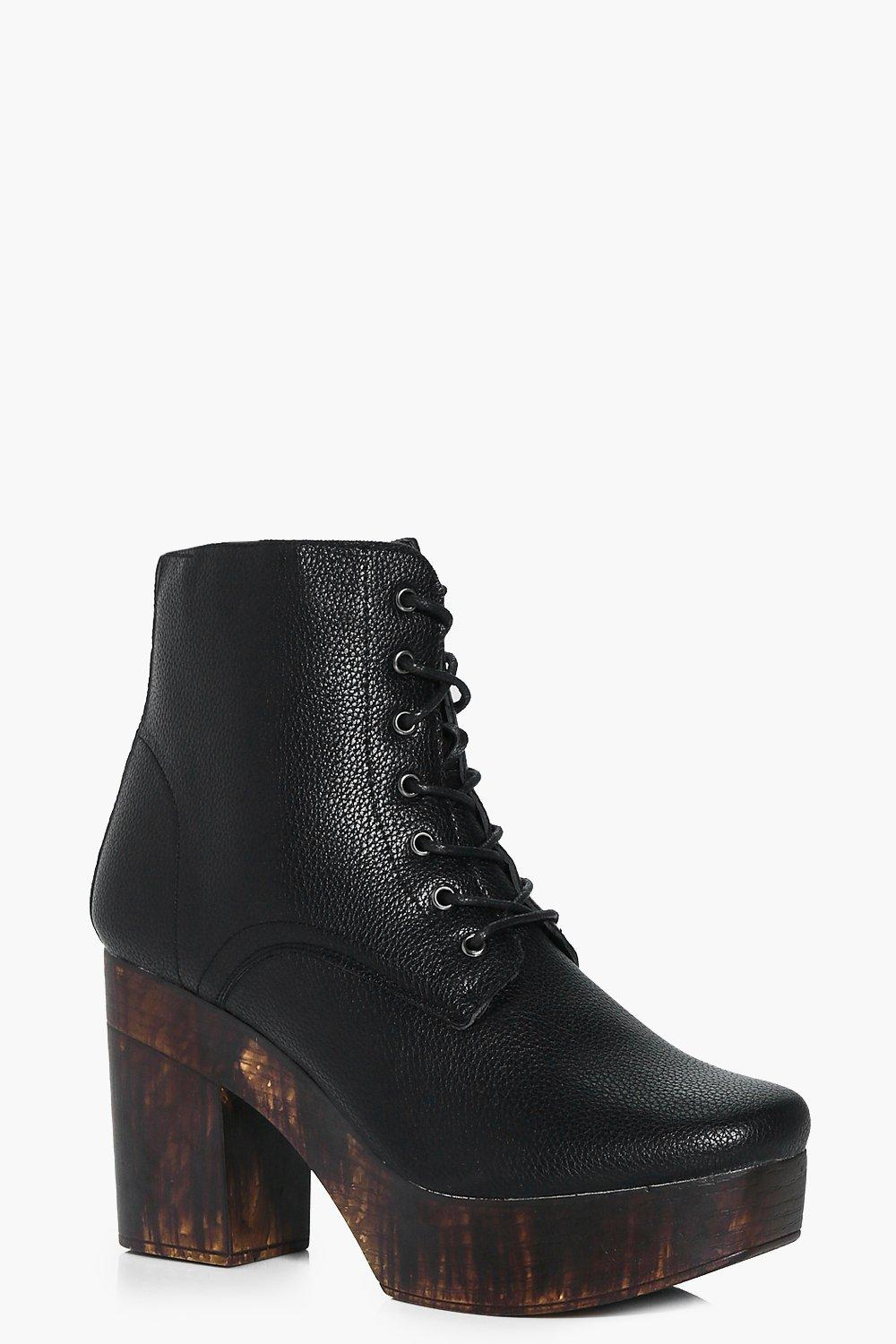 Charlotte Lace Up Wooden Platform Boot