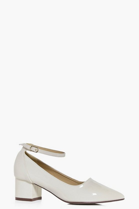 Ava Block Heel Ankle Band Pointed Flat