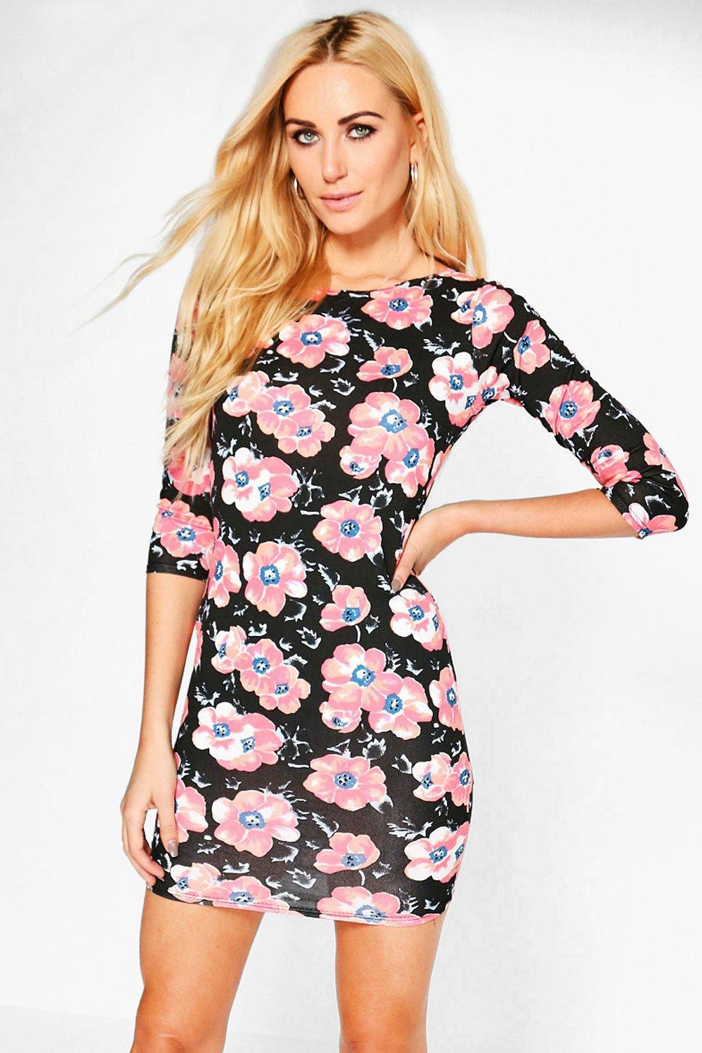 Daria Printed 3/4 Sleeved Bodycon Dress