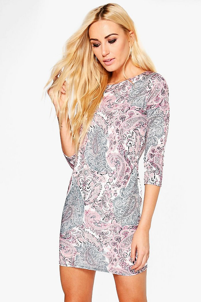 Corin Printed 3/4 Sleeved Bodycon Dress