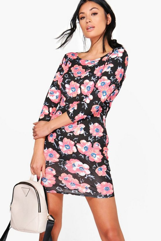 Alena Printed 3/4 Sleeved Bodycon Dress
