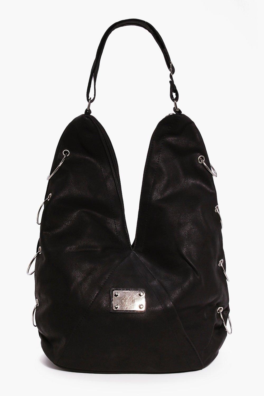 Hoop Detail Slouch Day Bag black