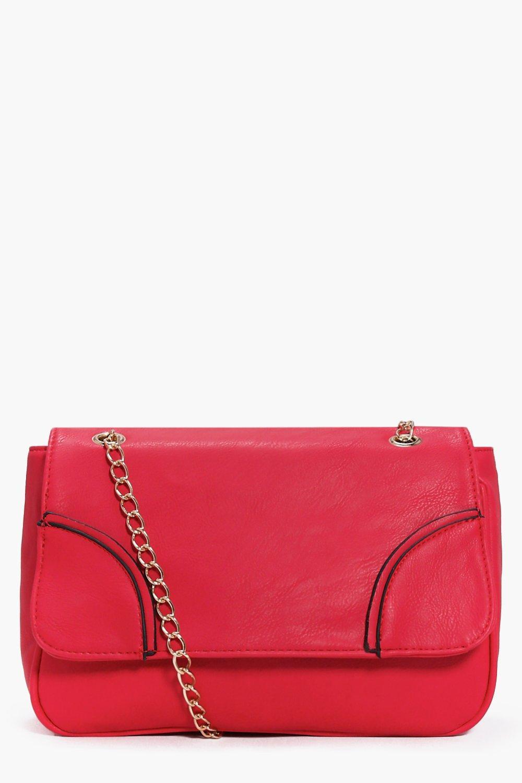 Chain Strap Cross Body Bag red