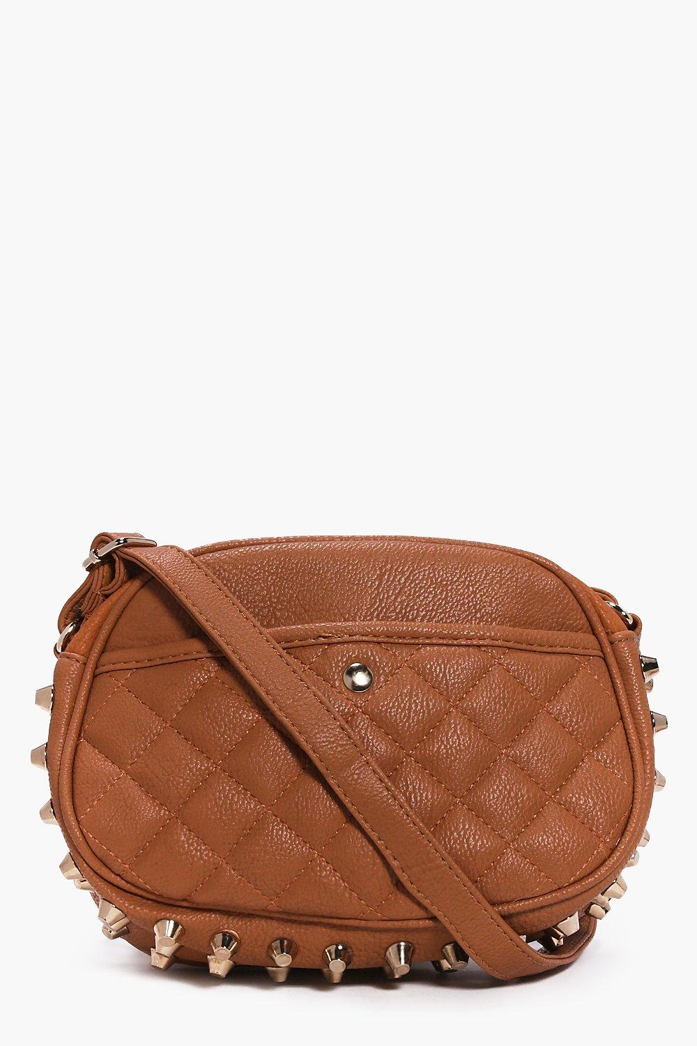 Stud Quilted Body Bag tan