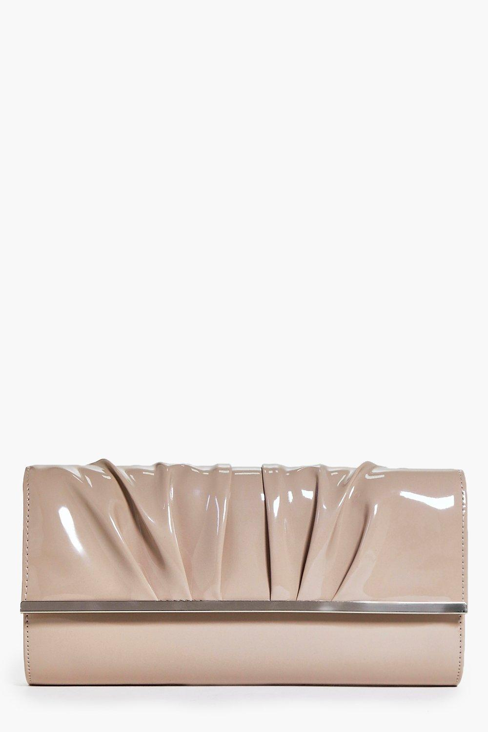 Patent Slouch Detail Clutch Bag taupe